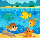 Underwater ocean fauna theme 4 Royalty Free Stock Images