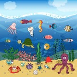 Underwater ocean life under the waves. Underwater ocean life hand-drawn illustration under the waves with corals and algae or seaweed on golden sand and swimming Royalty Free Stock Photography