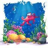 Underwater octopus, coral and colorful reefs and algae on sand. Beautiful octopus, coral and colorful reefs and algae on sand. Vector illustration of sea stock illustration