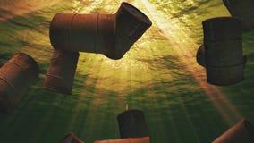 Underwater oil drum barrels in the ocean loop