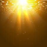 Underwater orange background with sun rays. Editable vector background Stock Photo