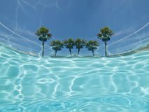Underwater palm tree pool view abstract. Underwater Palm Tree Pool View Stock Photography