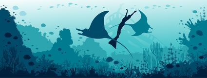 Underwater panorama - mantas, freediver, coral reef, fish, blue. Silhouette of two mantas, freediver in monofin and coral reef on a blue sea background. Vector royalty free stock photos