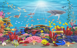 Underwater Paradise. A vibrant underwater coral scene showing Fish, underwater mammals, and bright coral Royalty Free Stock Photo