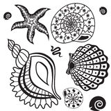 Underwater paradise black and white pattern Royalty Free Stock Image