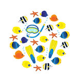 Underwater pattern on white background. Coral reef colorful fish and diving equipment. Circle composition. Stock Photos