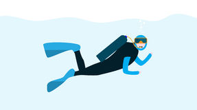 Underwater People, Cartoon  Scuba Diver. Concept of Extreme Divi Stock Images