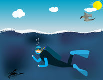 Underwater People, Cartoon  Scuba Diver. Concept of Extreme Divi Stock Image