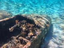 Underwater photo of a sunken drug plane at Exuma, Bahamas.  Stock Photo