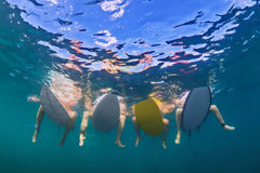 Underwater photo of surfers sitting on surf boards stock images
