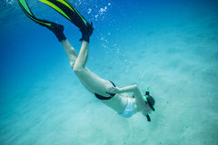 Underwater photo of a woman snorkeling in clear tropical sea. Underwater portrait of a woman snorkeling in clear tropical sea. She is diving below the surface to Stock Photos