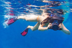 Underwater photographer in Andaman sea Stock Photos