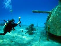 Underwater Photographer Shooting MV Tibbetts Royalty Free Stock Image