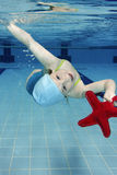 Swimming. Underwater picture of a young girl playing in the swimming-pool Royalty Free Stock Photo