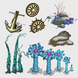 Underwater plants, anchor and ship wheel Stock Photos