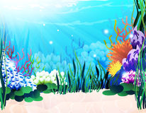 Underwater plants. Underwater landscape with exotic plants and corals Royalty Free Stock Photo