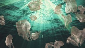 Underwater plastic bags trash in the ocean loop