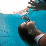 Underwater in a pool. Woman freediving underwater in a pool Stock Image