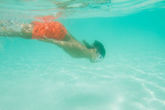Underwater portrait of boy, snorkelling in mask Royalty Free Stock Images