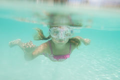 Underwater portrait of girl, snorkelling in mask Stock Photo