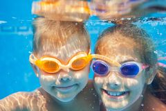 Underwater portrait kids Stock Photo