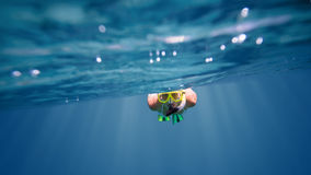 Underwater portrait of a woman snorkeling Stock Photography