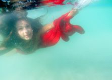Underwater portrait of young beautiful woman Stock Images
