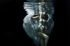 Underwater pregnancy. A pregnant beautiful woman swims underwater with her belly Stock Photography