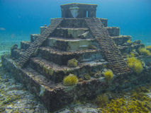 Underwater pyramid. In caribbean with coral Stock Photos