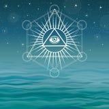 Underwater pyramids. Bermuda Triangle. Stock Photography