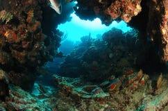 Underwater rock arch Stock Photo