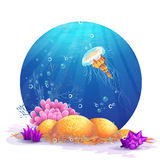 Underwater rocks with seaweed and fish fun Stock Images