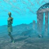 Underwater ruin scene Stock Images
