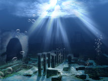 Underwater ruins Stock Images