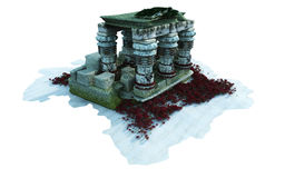 Underwater Ruins. 3D rendering of a detailed underwater ruins on a white background Stock Photography