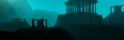 Underwater Ruins Panorama. Panorama rendering of underwater ruins Royalty Free Stock Photo