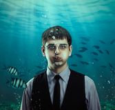 Underwater scene of a businessman with fishes Stock Photography
