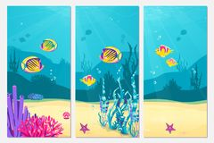 Underwater scene cartoon flat background with fish, sand, seaweed, coral, starfish. Ocean sea life, cute vertical banner. Design. Abstract waves underwater royalty free illustration