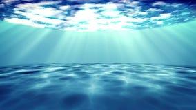 Underwater scene on a dark blue background. The underwater scene on a dark blue background stock video footage