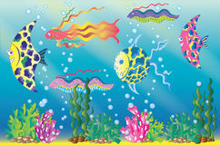 Underwater scene with exotic fish and sea grass. Beautiful underwater scene with exotic fish, sea weed and bubbles, hand drawn illustration vector illustration