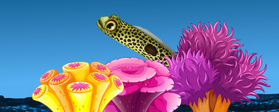 Underwater scene with fish and coral reef. Illustration Stock Photo
