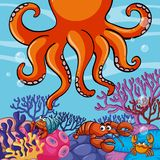 Underwater scene with giant octopus and crabs. Illustration Royalty Free Stock Photography