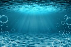 Underwater scene illustration. Underwater scene illustration with bubbles, light rays royalty free illustration