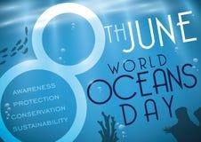 Underwater Scene with Marine Life Silhouette for World Oceans Day, Vector Illustration stock illustration