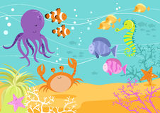 Sea Creatures Underwater Scene Royalty Free Stock Photography