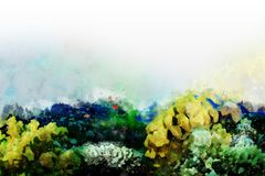 Underwater scene, Underwater tropical world on an abstract watercolor background. Drawing, effects. vector illustration