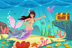 Underwater Scene. A vector illustration of underwater scene with mermaid and treasure box Stock Images