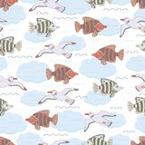 Underwater 10. Underwater scene. Vector seamless pattern in childish style with fishes and seagulls Stock Image
