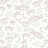 Underwater-01. Underwater scene. Vector seamless pattern consists of different sea objects Royalty Free Stock Photography