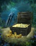 Underwater scenery 3. Underwater scenery with a pirate treasure Stock Photography